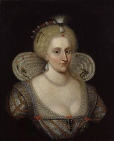 1617 Anne of Denmark by Paul van Somer (National Portrait Gallery - London, UK). From Wikimedia. Mary Queen Of Scots, Queen Anne, King Queen, Renaissance, British History, Art History, Adele, Anne Of Denmark, King James I
