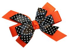 Hair Bows - New Girls Black Dotted Boutique GrosGrain Hair Bow French Clip USA 25+ Colors $4.99 Plus Free Shipping on Orders Over $30.00 #TheBowRoom #HairBows