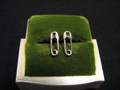 Vintage Sterling Silver Tiny Safety Pin Stud Post Pierced Earrings