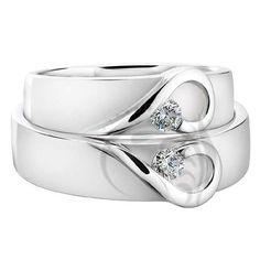 """Attractive 14k White Gold Matching Wedding Bands  0.14 carats 6.0 mm..I don't think Eric would wear a """"diamond ring"""" but this is adorable!"""