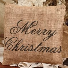 Merry Christmas - French Flea Market Burlap Accent Throw Pillow 8-in x 8-in The Country House  $15.95 fast free shipping