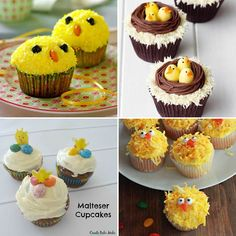 Cupcake de Pasqua (conills, ous i pollets) - totnens Mini Cupcakes, Desserts, Food, Tailgate Desserts, Deserts, Essen, Postres, Meals, Dessert