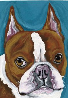 ACEO red Boston Terrier Original Painting Pet Dog Art-Carla Smale. $12.00, via Etsy.