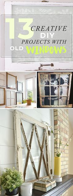 13 Creative DIY Projects with Old Windows Try these DIY old window projects to upcycle history and add real charm to your space! Never wonder what to do with old windows again! Treatment Projects Care Design home decor
