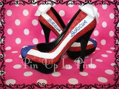 Puerto Rican Flag Pumps. I would get rid of the bow....