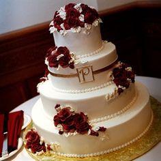 Red and Gold Wedding Cake  Keywords: #redandgoldweddings #jevelweddingplanning Follow Us: www.jevelweddingplanning.com  www.facebook.com/jevelweddingplanning/
