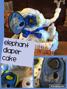 Elephant Diaper Cake Design By Crafty Conjuring. How to Make a Simple Elephant Diaper cake in lined basket. Gender Neutral Animal Themed Diaper Cake for Baby. Safari Diaper Cakes, Elephant Diaper Cakes, Elephant Baby Shower Cake, Diaper Cake Boy, Elephant Theme, Nappy Cakes, Cake Baby, Baby Shower Diapers, Baby Shower Fun