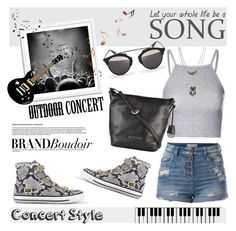"""Brandboudoir at Outdoor Summer Concert"" by helenevlacho ❤ liked on Polyvore featuring Pieces, Ash, Glamorous, D-ID, Wet Seal, contestentry, outdoorconcert and brandboudoir"
