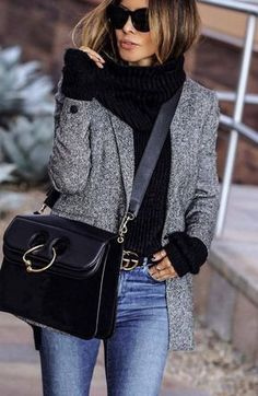 cozy winter outfit / grey blazer black sweater bag skinny jeans