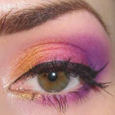 Orange, Pink and Purple Tropical Sunset Makeup look
