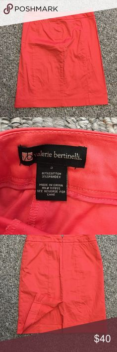 Coral pencil skirt Coral pencil skirt. Size 2. Only worn a couple times. Clean smoke free home. Zipper in back. Slit in back. 14 in waistband laying flat. 19in from waistband to hem. Valerie bertinelli Skirts Pencil