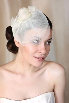 Wedding Hat Couture Bridal Hat. Ivory Bridal Hat by klaxonek, $139.00