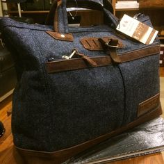 Sneak peek Coming soon, a spectacular collab collection between Abraham Moon tweeds from England and Master-Piece bags from Japan. Beautiful materials and color combinations. (at No Man Walks Alone)
