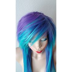 Scene Wig Emo Wig Teal Purple Wig Long Straight Hair Side Bangs Scene... ($180) ❤ liked on Polyvore featuring beauty products, haircare, hair styling tools and hair