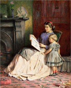 Mother and Daughter - George Goodwin Kilburne (Inglês, 1839-1924)