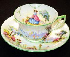 Aynsley Royal England Crinoline Lady Demi Tea Cup and Saucer   eBay