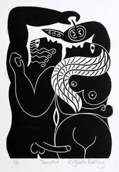 Tempted ~ Linocut by Elizabeth Rashley