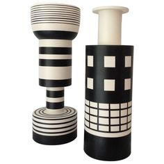 black & white ceramics | Ettore Sottsass Pair of Ceramic Vases 1959