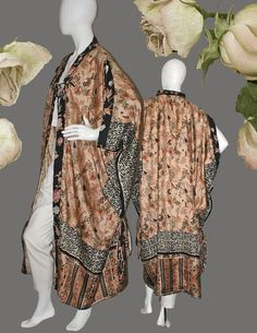 Kimono Robe Art to Wear 20s Paris Style Fully Lined Opera Coat, Dressing Gown in Vintage Handprinted Sari Silks One of a Kind & One Size