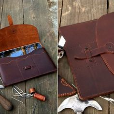 multi-pocket for Apple ipad accessories with genuine italian vegetable tanned leather -hiram beron