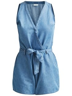 Style name: VILIAMA PLAYSUIT | Denim playsuit | Sleeveless | Zip closure at the side | Push button closure in the front | Removable waist tie | Two pockets | Front rise: 32 cm in size 38 | Inseam: 8,5 cm | Our model is 180 cm tall and wears size 38 Denim Playsuit, Playsuits, Trousers, Jumpsuit, Closure, Pockets, Tie, Button, Model