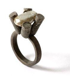 Karl Fritsch. Ring: Untitled, 2005. White gold oxidised 750, diamond 8 carat.