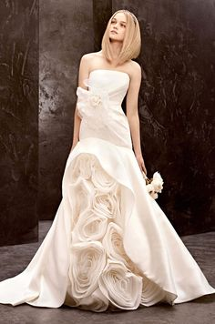 A gorgeous peek-a-boo textured skirt on this wedding dress from WHITE by Vera Wang, Fall 2012. #ProjectDressMe
