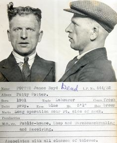 James Boyd potter    This mug shot comes from a police identification book believed to be  from the 1930s. It was originally found in a junk shop by a member of  the public and subsequently donated to Tyne & Wear Archives & Museums.  No information is available to confirm which police force compiled it  but evidence suggests it's from the Newcastle upon Tyne area.