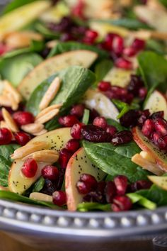 Apple Cranberry Spinach Salad with Honey Cider Dressing - an insanely delicious and super healthy salad - perfect for any fall/holiday get together!