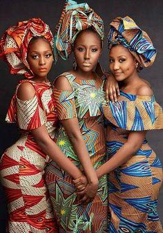 african print dress x3 matching headwrap typical of Nigeria/Ghana?black women