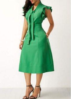 High Waist Tie Neck Pocket Green Dress - Trend Way Dress African Print Dresses, African Fashion Dresses, African Dress, Sexy Dresses, Beautiful Dresses, Casual Dresses, Party Dresses, African Attire, African Wear