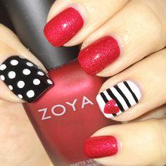 Black & red valentine nails Zoya Amal
