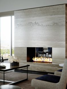 Contemporary Travertine Stone Fireplace