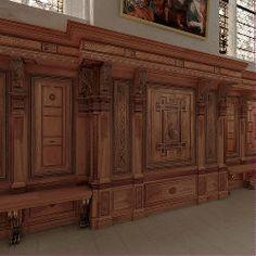 Les lambris- ECOUEN, LA CHAPELLE, LES LAMBRIS, 1: Tout le tour de la chapelle d'Ecouen est doté au 16°s d'un lambris de hauteur composé d'un soubassement, un registre principal avec des panneaux marquetés et une corniche. Il est doté de bancs. Ce lambris, restauré et modifié pour s'adapter à son nouvel emplacement, a été remonté à Chantilly après de multiples péripéties.