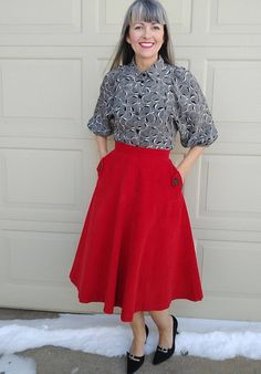 RED CORDUROY SKIRT 1950s 50s by petti xs D2 | Etsy My Work Schedule, Corduroy Skirt, Collar Blouse, Black Button, Winter Wardrobe, Clothing Items, 1950s, High Waisted Skirt, Ootd
