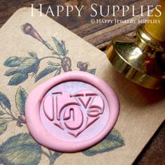 1pcs Love Heart Gold Plated Wax Seal Stamp (WS069)