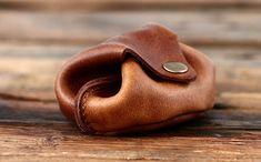 L'ESCARCELLE bourse en cuir souple, porte-monnaie avec bouton pression PAUL MARIUS