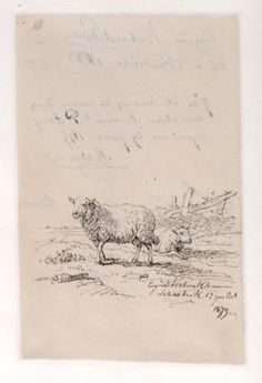 Autographs and sketches from artist friends to Samuel P. Avery, 1874-1880 : [including autographletters, calling cards, receipts, etc.] 1879. The Metropolitan Museum of Art, New York. Thomas J. Watson Library. Manuscripts Samuel Putnam Avery Papers.  #sketches | Serene sheep.