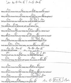 Mary Did You Know (Christmas) Am Minor - Guitar Chord Chart with Lyrics - http://www.youtube.com/munsonmusiclive