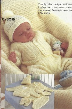 Baby Knitting Patterns Sweter PDF Knitting pattern cable cardigans,leggings,socks,mittens and hat. Baby Knitting Patterns, Baby Sweater Patterns, Knit Baby Sweaters, Knitting For Kids, Baby Patterns, Free Knitting, Knitting Projects, Knitted Baby, Baby Cardigan