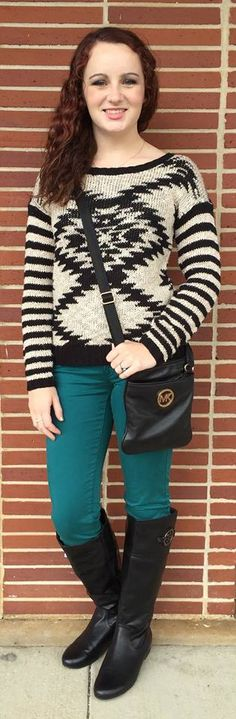 Perfect outfit for fall with Aztec sweater Michael Kors purse