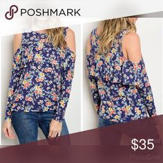PREORDER! Blue floral cold shoulder w/ruffle top! Oversized Scoop Neck Cold Shoulder Long Sleeve Floral Top with ruffle! Tops