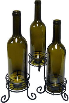 Epicurean EpicureanistTM Set of 3 Wine Bottle Tealight Candle Holders