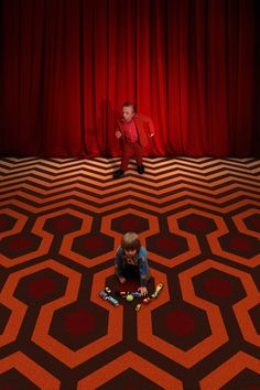 Jared Lyon, former organizer of the Twin Peaks Fest, spent hours in Photoshop to create this perfect mashup called Purgatory, in which The Red Room and Room 237 meet.