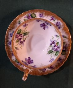 Vintage Royal Sealy Violet and Gold TeaCup and Saucer by KatsVintageTreasures on Etsy