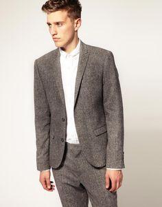 Slim Fit Tweed Suit Jacket