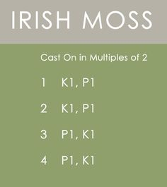 Irish Moss Stitch Knitting Pattern Instructions by Kristen McDonnell of Studio Knit