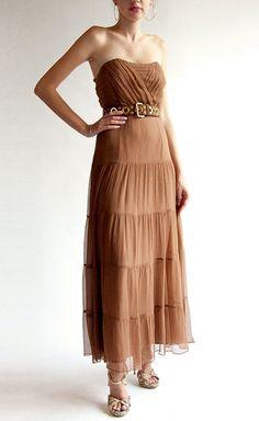 Haute Hippie Brown Chiffon Dress   VAUNTE