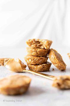 3 Ingredient No Bake Peanut Butter Oatmeal Cookie Cups (Healthy, Vegan, GF) - Beaming Baker