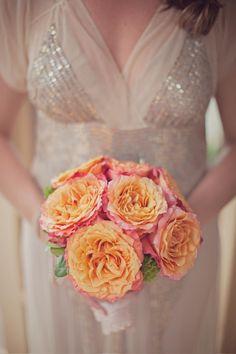 Pretty peach bridal bouquet.